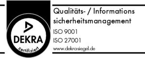 DEKRA-SIEGEL ISO 9001 + ISO 27001 | Xantaro Deutschland